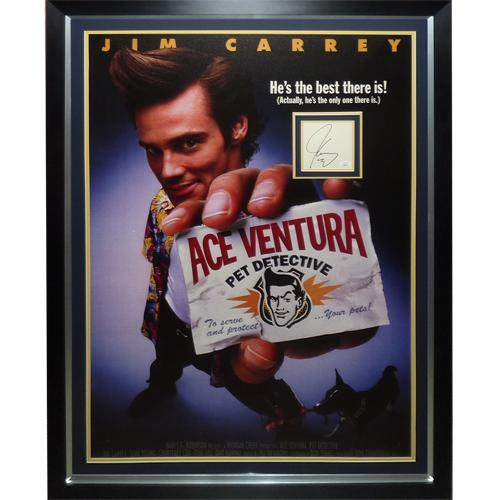 Ace Ventura Full-Size Movie Poster Deluxe Framed with Jim Carrey Autograph – JSA