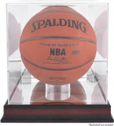 Acrylic Basketball Display Case with Antique Mahogany Finish and Mirror Back