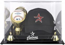 Houston Astros Acrylic Cap and Baseball Logo Display Case - Mounted Memories