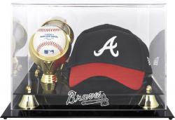 Atlanta Braves Acrylic Cap and Baseball Logo Display Case - Mounted Memories