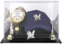 Milwaukee Brewers Acrylic Cap and Baseball Logo Display Case