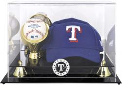 Texas Rangers Acrylic Cap and Baseball Logo Display Case - Mounted Memories