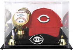 Cincinnati Reds Acrylic Cap and Baseball Logo Display Case - Mounted Memories