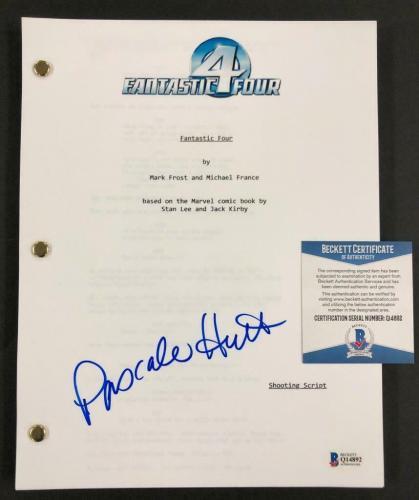 actress Pascale Hutton signed Marvel Fantastic Four movie script BAS COA Beckett