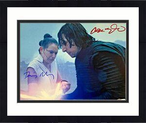 Adam Driver Daisy Ridley Signed 11x14 Star Wars Photo Ren Rey Beckett Witnessed