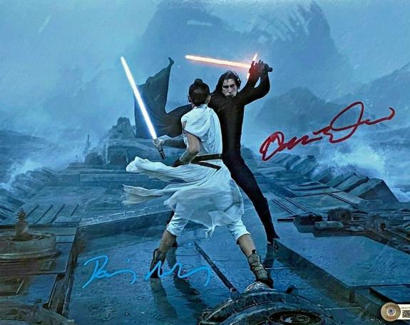 Adam Driver Daisy Ridley Signed 11x14 Star Wars Photo Rey BAS Beckett Witnessed