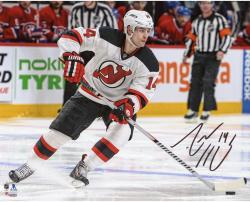"Adam Henrique New Jersey Devils Autographed White Jersey Stopping 8"" x 10"" Photograph"