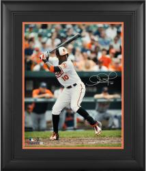 "Adam Jones Baltimore Orioles Framed Autographed 16"" x 20"" White Jersey Batting Photograph"
