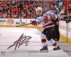 "Adam Larsson New Jersey Devils Autographed Horizontal White Jersey Shooting 8"" x 10"" Photograph"