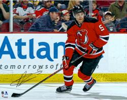 """Adam Larsson New Jersey Devils Autographed Red Jersey Horizontal 16"""" x 20"""" Photograph"""