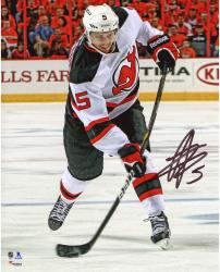 "Adam Larsson New Jersey Devils Autographed White Jersey Shooting 8"" x 10"" Photograph"