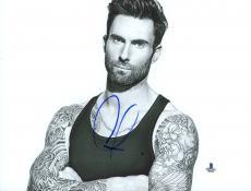 "Adam Levine Autographed 8"" x 10"" Posing Black & White Photograph - Beckett COA"