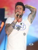 "Adam Levine Autographed 8"" x 10"" Singing in White Shirt Vertical Photograph - Beckett COA"