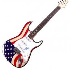 Adam Levine Autographed Maroon 5 Signed USA Flag Guitar UACC RD COA AFTAL