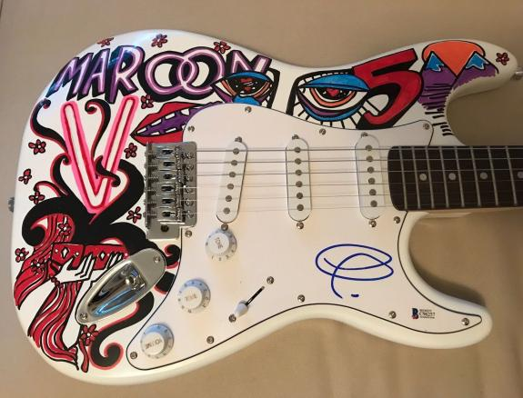 Adam Levine Maroon 5 Signed Autograph Custom Painted Electric Guitar 1/1 Beckett