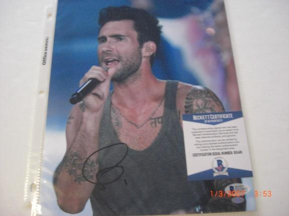 Adam Levine Musician,maroon Five,the Voice Beckett/coa Signed 8x10 Photo