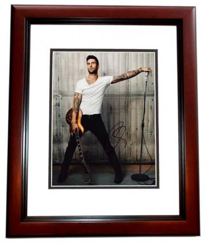 Adam Levine Signed - Autographed Maroon 5 Concert 11x14 inch Photo - The Voice Judge MAHOGANY CUSTOM FRAME - Guaranteed to pass PSA or JSA
