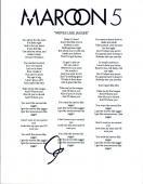 "Adam Levine Signed Autographed MAROON 5 ""Moves Like Jagger"" Lyric Sheet COA VD"