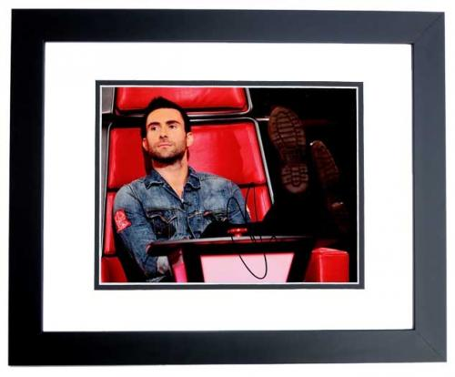 Adam Levine Signed - Autographed Maroon 5 - The Voice Judge 8x10 inch Photo - BLACK CUSTOM FRAME - Guaranteed to pass PSA or JSA