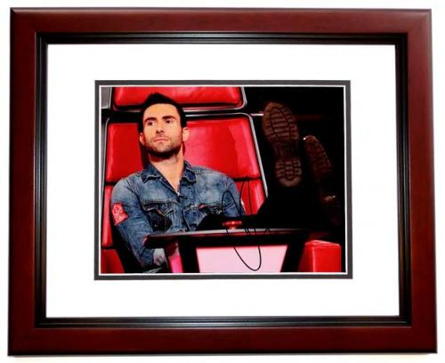 Adam Levine Signed - Autographed Maroon 5 - The Voice Judge 8x10 inch Photo - MAHOGANY CUSTOM FRAME - Guaranteed to pass PSA or JSA