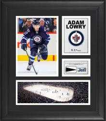 """Adam Lowry Winnipeg Jets Framed 15"""" x 17"""" Collage with Piece of Game-Used Puck"""