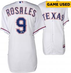 Adam Rosales Texas Rangers Game-Used White Jersey from 7/13/14 vs. Los Angeles Angels
