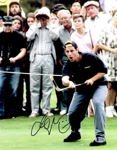 "Adam Sandler Autographed 11"" x 14"" Happy Gilmore Subway Shirt Photograph Black Ink - BAS COA"