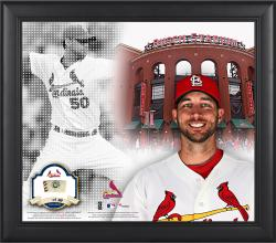 """Adam Wainwright St. Louis Cardinals Framed 15"""" x 17"""" Mosaic Collage with Game-Used Baseball-Limited Edition of 99"""