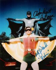 "ADAM WEST as BATMAN and BURT WARD as ROBIN in ""BATMAN"" Signed 8x10 Color Photo"