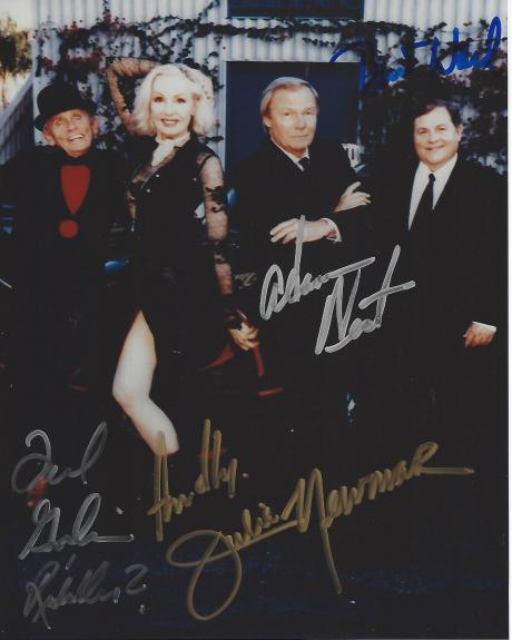 """ADAM WEST as BATMAN, BURT WARD as ROBIN, FRANK GORSHIN as RIDDLER, and JULIE NEWMAR as THE CATWOMAN in TV Series """"BATMAN"""" from 1966-68 (ADAM Passed Away 2017 and FRANK 2005) Signed by All Four 8x10 Color Photo"""