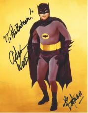 "ADAM WEST as BATMAN in TV Series ""BATMAN"" Added on Photo 'TO THE BAT CAVE"" and ""BATMAN"" Signed 8x10 Color Photo"