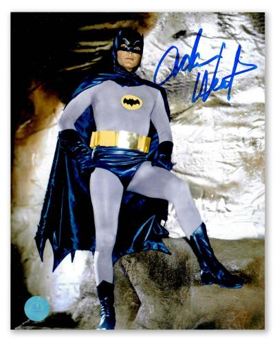 Adam West Autographed Batman TV Show Standing in Batcave 8x10 Photo