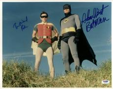 "Adam West ""batman""& Burt Ward ""robin"" Signed 11x14 Photo Psa/dna"