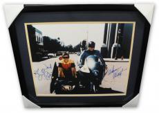Adam West Burt Ward Dual Signed Autograph 16x20 Photo Batman Motorcycles Framed