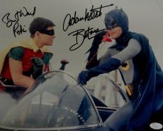 Adam West Burt Ward Signed Autographed 11X14 Photo Batman Batphone in Car JSA 67