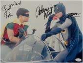 Adam West Burt Ward Signed Autographed 11X14 Photo Batman Batphone in Car JSA 68