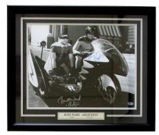 Adam West Burt Ward Signed Framed Batman & Robin 16x20 Bat Bike Photo Insc BAS