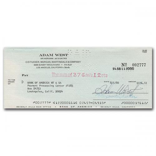 Adam West (deceased) Autographed Cheque