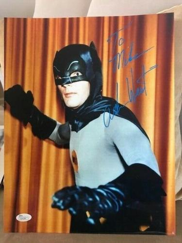ADAM WEST HAND SIGNED 11x14 PHOTO      AMAZING POSE AS BATMAN     TO MIKE    JSA