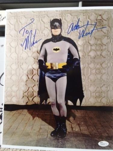 ADAM WEST HAND SIGNED 11x14 PHOTO      CLASSIC POSE AS BATMAN     TO MIKE    JSA