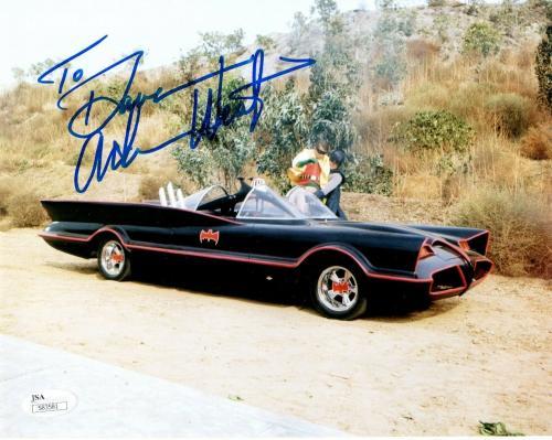 ADAM WEST HAND SIGNED 8x10 COLOR PHOTO      BATMAN BATMOBILE    TO DAVID     JSA
