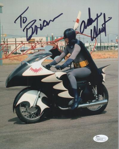 ADAM WEST HAND SIGNED 8x10 COLOR PHOTO   BATMAN ON BATCYCLE     TO BRIAN     JSA