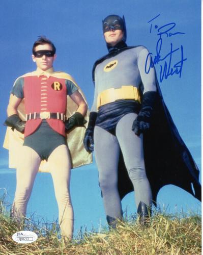 ADAM WEST HAND SIGNED 8x10 COLOR PHOTO         BATMAN+ROBIN        TO RON    JSA
