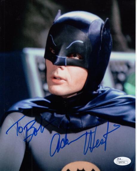 ADAM WEST HAND SIGNED 8x10 COLOR PHOTO     GREAT POSE AS BATMAN    TO BOB    JSA
