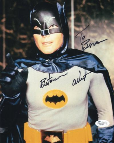 ADAM WEST HAND SIGNED 8x10 COLOR PHOTO    GREAT POSE AS BATMAN   TO BRIAN    JSA