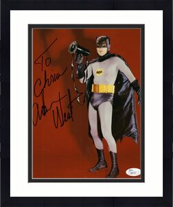 ADAM WEST HAND SIGNED 8x10 COLOR PHOTO   GREAT POSE AS BATMAN   TO CHRIS     JSA