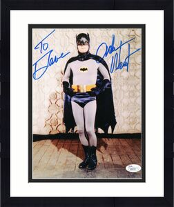 ADAM WEST HAND SIGNED 8x10 COLOR PHOTO    GREAT POSE AS BATMAN    TO DAVE    JSA