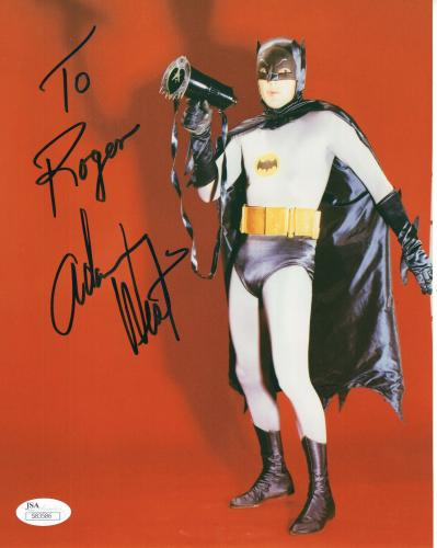 ADAM WEST HAND SIGNED 8x10 COLOR PHOTO    GREAT POSE AS BATMAN   TO ROGER    JSA