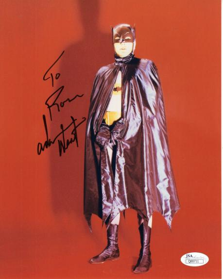 ADAM WEST HAND SIGNED 8x10 COLOR PHOTO    GREAT POSE AS BATMAN     TO RON    JSA