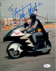 ADAM WEST HAND SIGNED 8x10 PHOTO     AWESOME POSE AS BATMAN       TO JOE     JSA